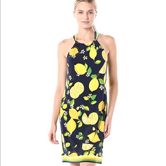 Trina Turk Rancho Dress Size MEDIUM lemon print NEW